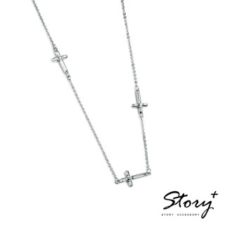 【STORY ACCESSORY】十字系列-堅信 純銀項鍊(白K金)