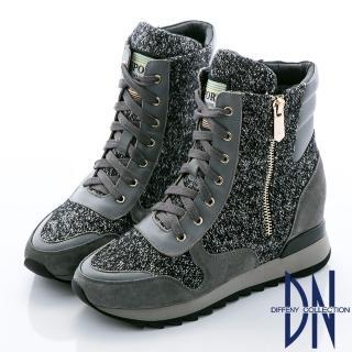 【DN】狂野魅力 混色毛料拼接磨砂牛皮綁帶中筒靴(灰)