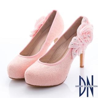 【DN】婚宴系列 焦點金蔥花漾水鑽跟鞋(粉)