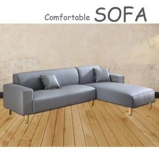 【時尚屋】蘿絲灰色特殊透氣皮雙人L型沙發(U6-918-60)