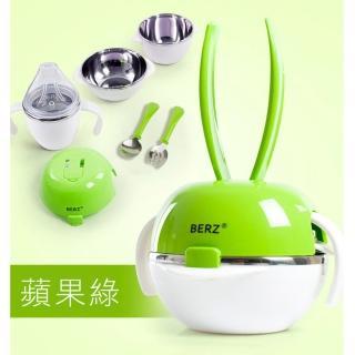 【BERZ 英國貝氏】彩虹兔五合一組合不鏽鋼餐具組(綠色)