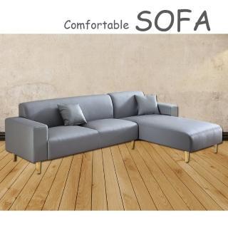 【時尚屋】蘿絲灰色特殊透氣皮三人L型沙發(U6-918-50G)
