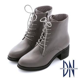 DN 英倫時髦 簡約個性綁帶毛裡中筒靴