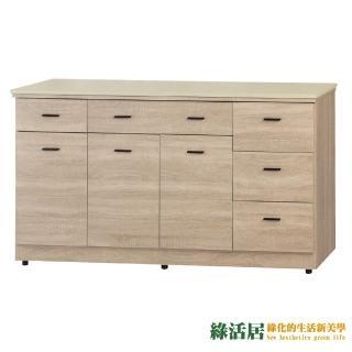 【綠活居】凱薩妮  橡木紋5尺雲紋石面收納櫃/餐櫃