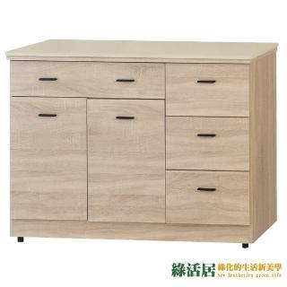 【綠活居】凱薩妮   橡木紋4尺雲紋石面收納櫃/餐櫃