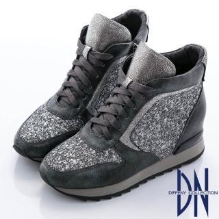 【DN】街頭魅力 牛皮拼接異材質綁帶厚底休閒鞋(灰)