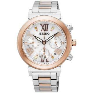【SEIKO】精工 LUKIA 太陽能羅馬計時碼錶-銀x雙色版/36mm(V175-0DR0KS  SSC854J1)