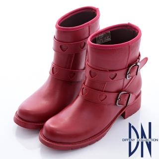 【DN】雨中漫步  甜美愛心皮帶交織拼接雨靴(紅)