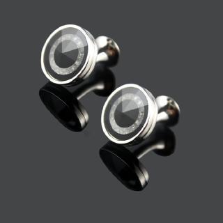 【拉福】袖扣鑲鑽黑底質感袖扣(1對袖扣)   拉福