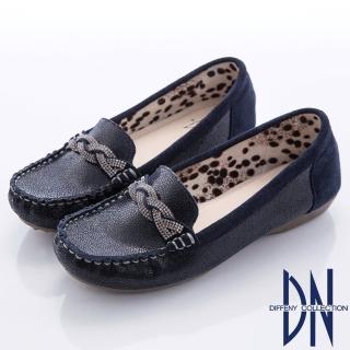 【DN】都會舒適  水鑽交織拼接動物紋平底鞋(藍)