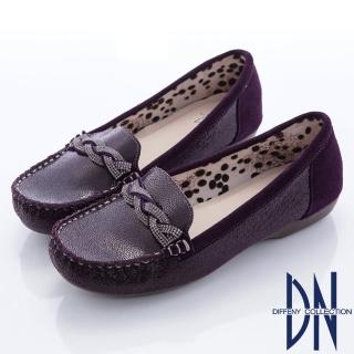 【DN】都會舒適  水鑽交織拼接動物紋平底鞋(紫)