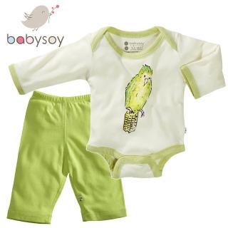 【美國 Babysoy】Janey Baby  有機棉秋冬文藝2入組套裝(包屁衣606鸚鵡+長褲626淺綠)