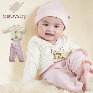 【美國 Babysoy】Janey Baby  有機棉秋冬文藝2入組套裝(包屁衣606兔子+長褲626淺粉)