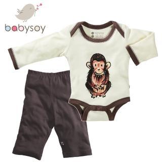 【美國 Babysoy】Janey Baby  有機棉秋冬文藝2入組套裝(包屁衣606猩猩+長褲626咖啡)