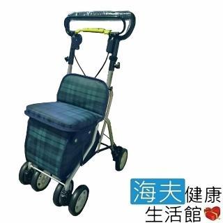 【海夫健康生活館】輕巧購物助行車(綠格紋)