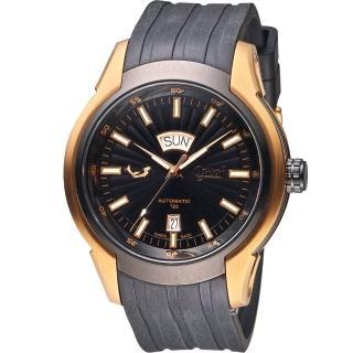 【愛其華 Ogival】賽車運動機械腕錶(826ATGRB 黑44mm)