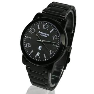 【Arseprince】藍圈指針時尚中性錶(黑色)