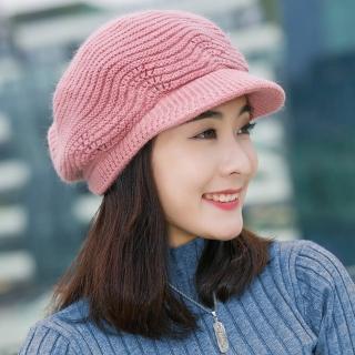 【幸福揚邑】雙層保暖護耳小顏針織鴨舌貝蕾帽小臉兔毛線帽(粉紅)