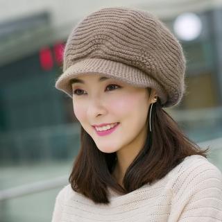 【幸福揚邑】雙層保暖護耳小顏針織鴨舌貝蕾帽小臉兔毛線帽(卡其)
