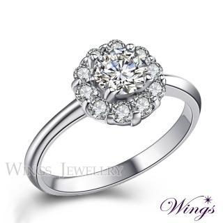 【WINGS】璀璨盛宴 八心八箭閃耀方晶鋯石精鍍白K金戒指(女戒 擬真鑽)