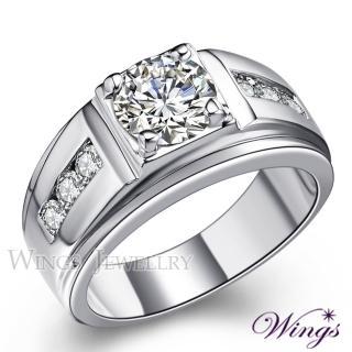 【WINGS】貴族風範 八心八箭方晶鋯石戒指 男戒(男戒 擬真鑽)