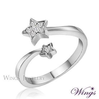 【WINGS】星願 纖細美麗的優雅 精鍍白K金戒指(可做尾戒)