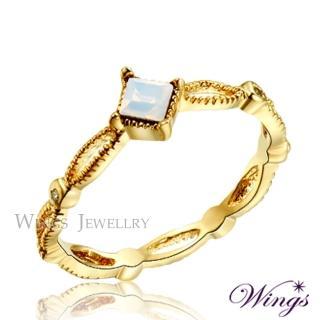 【WINGS】小清新系列 韓系細緻公主戒台設計 精鍍黃K金戒指(可做尾戒)