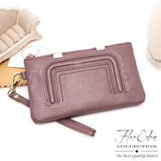 【DF Flor Eden皮夾】時尚極簡風牛皮款單拉鍊長夾(共2色)