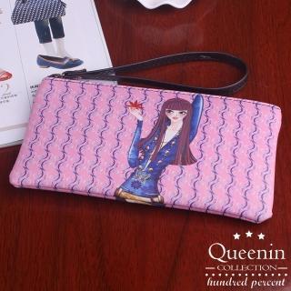 【DF Queenin皮夾】韓版俏皮少女系拉鍊手拿包(共5色)
