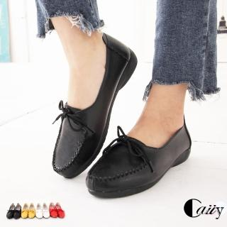 【Caiiy】真皮秀氣優雅綁帶舒適娃娃鞋 BF15(黑色)