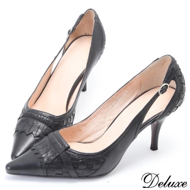 【Deluxe】全真皮知性造型編織尖頭跟鞋(黑)