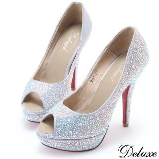 【Deluxe】奢華閃亮水鑽雙面魚口防水台高跟鞋(銀)