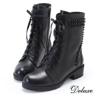 【Deluxe】全真皮帥氣時尚鉚釘綁帶軍靴(黑)