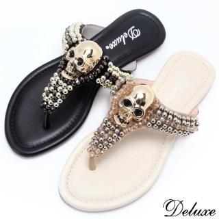 【Deluxe】時尚潮流亮金骷髏串閃耀珠珠夾腳拖鞋(黑-米)