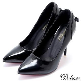 【Deluxe】經典款時髦亮皮後包蝴蝶結尖頭高跟鞋(黑)