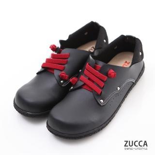 【ZUCCA】日系穿繩金屬圓點包鞋Z6004BK-黑色