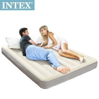 【INTEX】新型氣柱-雙人加大植絨充氣床墊(寬152cm)