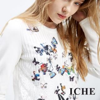 【ICHE 衣哲】3D立體蕾絲蝴蝶拼接上衣