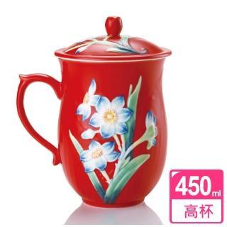【乾唐軒活瓷】水仙高杯 / 中國紅彩