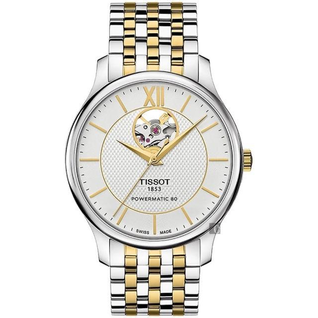 【TISSOT】天梭 Tradition 80小時動力鏤空機械腕錶-銀x雙色/40mm(T0639072203800)