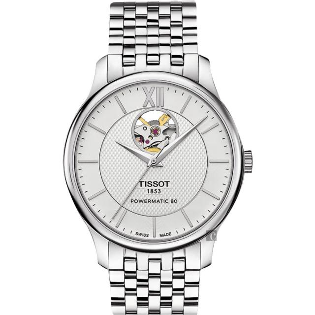 【TISSOT】天梭 Tradition 80小時動力鏤空機械腕錶-銀/40mm(T0639071103800)