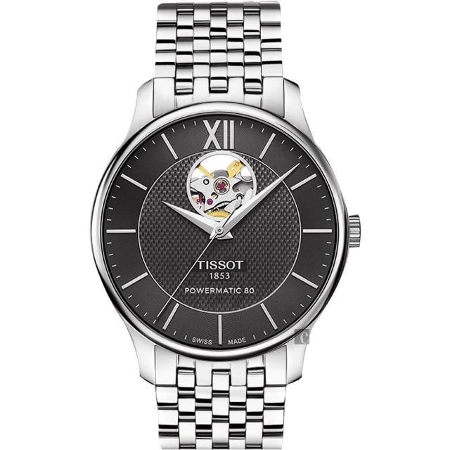 【TISSOT】天梭 Tradition 80小時動力鏤空機械腕錶-黑/40mm(T0639071105800)