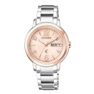 【CITIZEN XC】優雅甜美光動能計時時尚玫瑰金腕錶(EW2424-50W)
