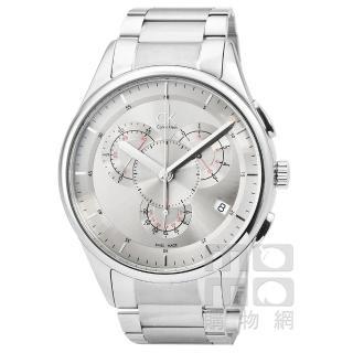 【CalvinKlein】Basic Chrono 三眼計時鋼帶錶-銀面(K2A27193)