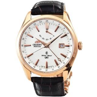 【ORIENT】東方錶GMT 動力儲存藍寶石機械皮帶錶-玫瑰金(SDJ05001W)