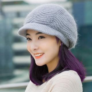 【幸福揚邑】雙層保暖護耳小顏針織鴨舌貝蕾帽小臉兔毛線帽(淺灰)