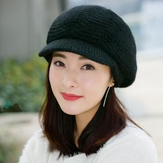 【幸福揚邑】雙層保暖護耳小顏針織鴨舌貝蕾帽小臉兔毛線帽(炫黑)