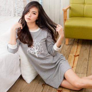【MICCH】茁壯的心 寬鬆休閒風 心樹七分袖裙裝