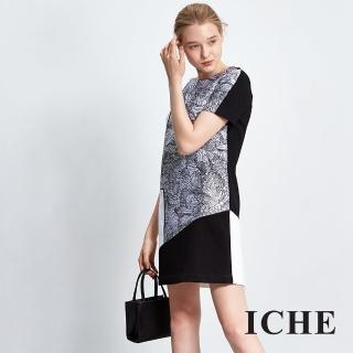 【ICHE 衣哲】線條印花拼接禮服洋裝
