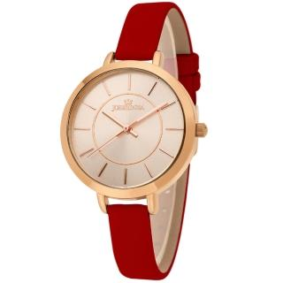 【JOSERINEA】甜美佳人皮革時尚腕錶(紅/33mm)